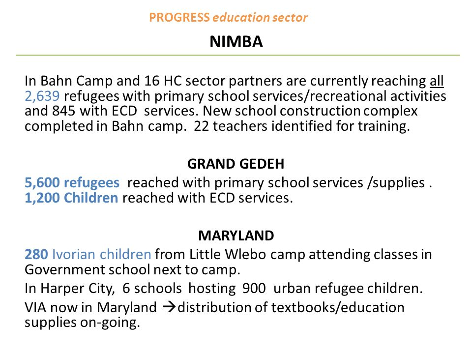PROGRESS education sector NIMBA In Bahn Camp and 16 HC sector partners are currently reaching all 2,639 refugees with primary school services/recreati
