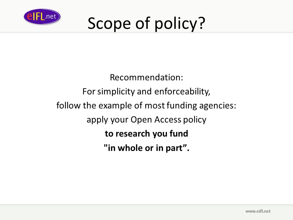 Scope of policy.