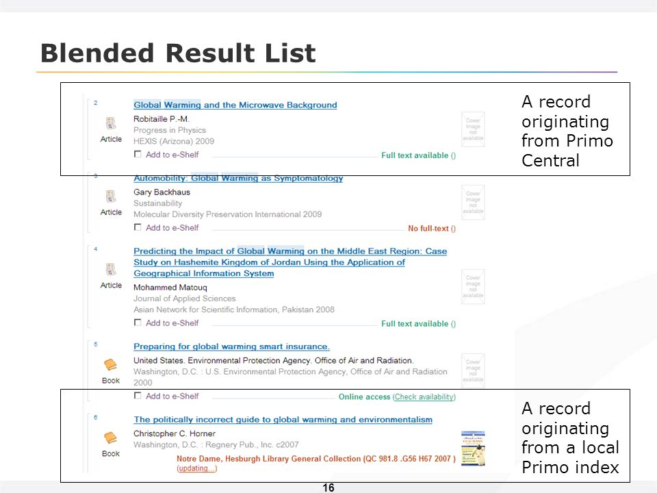 16 Blended Result List A record originating from Primo Central A record originating from a local Primo index
