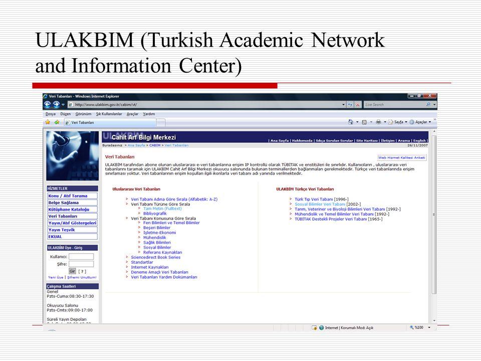 ULAKBIM (Turkish Academic Network and Information Center)