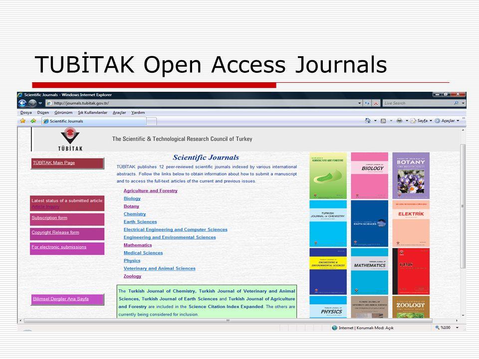 TUBİTAK Open Access Journals