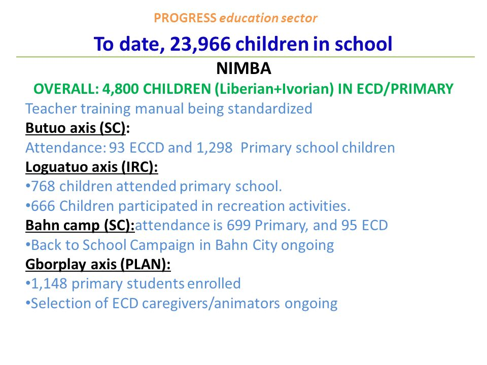 PROGRESS education sector To date, 23,966 children in school NIMBA OVERALL: 4,800 CHILDREN (Liberian+Ivorian) IN ECD/PRIMARY Teacher training manual being standardized Butuo axis (SC): Attendance: 93 ECCD and 1,298 Primary school children Loguatuo axis (IRC): 768 children attended primary school.