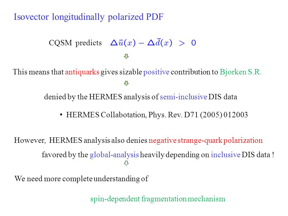 Isovector longitudinally polarized PDF CQSM predicts This means that antiquarks gives sizable positive contribution to Bjorken S.R.