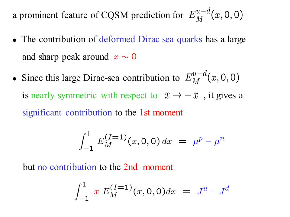 a prominent feature of CQSM prediction for The contribution of deformed Dirac sea quarks has a large and sharp peak around Since this large Dirac-sea contribution to is nearly symmetric with respect to, it gives a significant contribution to the 1st moment but no contribution to the 2nd moment