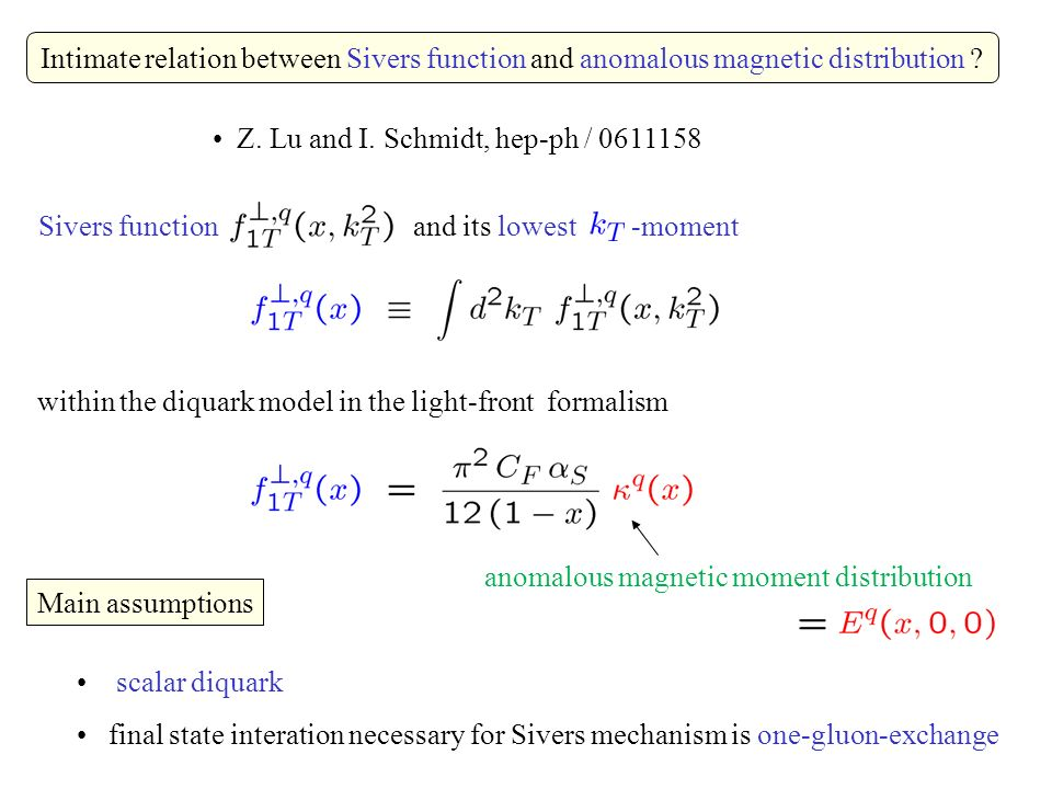 Intimate relation between Sivers function and anomalous magnetic distribution .