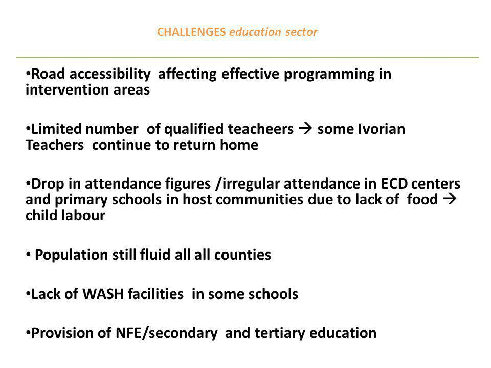 CHALLENGES education sector Road accessibility affecting effective programming in intervention areas Limited number of qualified teacheers some Ivorian Teachers continue to return home Drop in attendance figures /irregular attendance in ECD centers and primary schools in host communities due to lack of food child labour Population still fluid all all counties Lack of WASH facilities in some schools Provision of NFE/secondary and tertiary education