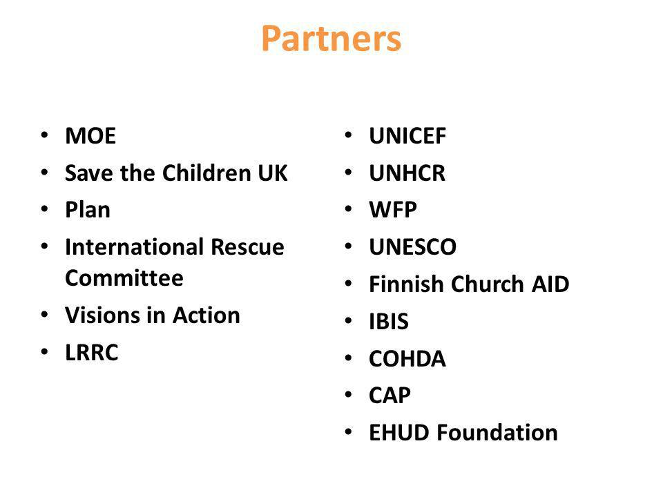 Partners MOE Save the Children UK Plan International Rescue Committee Visions in Action LRRC UNICEF UNHCR WFP UNESCO Finnish Church AID IBIS COHDA CAP EHUD Foundation