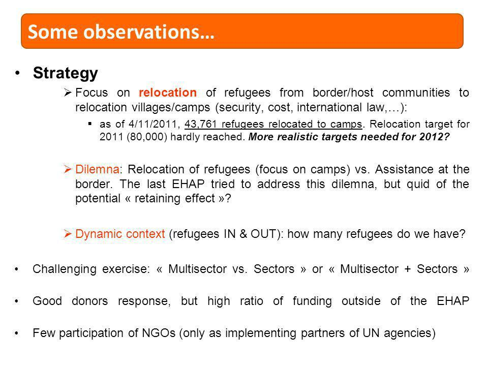 Strategy Focus on relocation of refugees from border/host communities to relocation villages/camps (security, cost, international law,…): as of 4/11/2011, 43,761 refugees relocated to camps.