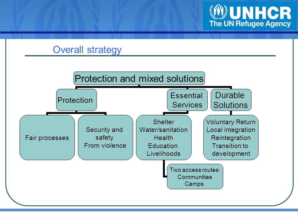 Overall strategy Protection and mixed solutions Protection Fair processes Security and safety From violence Essential Services Shelter Water/sanitation Health Education Livelihoods Two access routes: Communities Camps Durable Solutions Voluntary Return Local integration Reintegration Transition to development