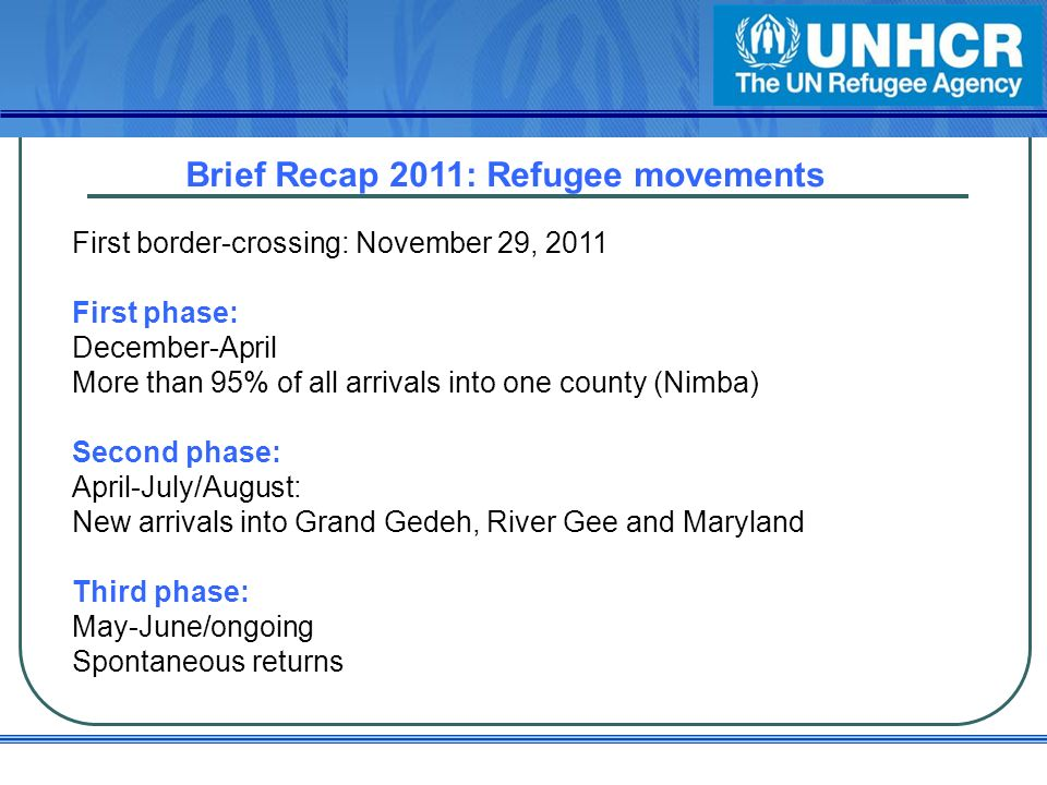 Brief Recap 2011: Refugee movements First border-crossing: November 29, 2011 First phase: December-April More than 95% of all arrivals into one county (Nimba) Second phase: April-July/August: New arrivals into Grand Gedeh, River Gee and Maryland Third phase: May-June/ongoing Spontaneous returns