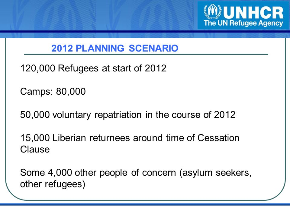 2012 PLANNING SCENARIO 120,000 Refugees at start of 2012 Camps: 80,000 50,000 voluntary repatriation in the course of 2012 15,000 Liberian returnees around time of Cessation Clause Some 4,000 other people of concern (asylum seekers, other refugees)