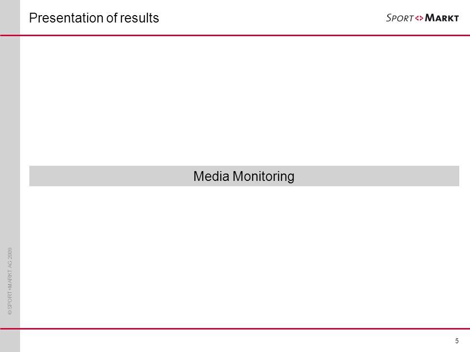 © SPORT+MARKT AG 2009 5 Media Monitoring Presentation of results