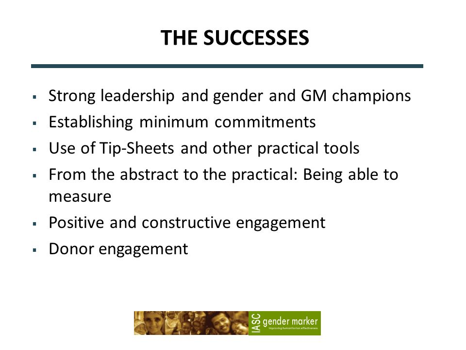 THE SUCCESSES Strong leadership and gender and GM champions Establishing minimum commitments Use of Tip-Sheets and other practical tools From the abst