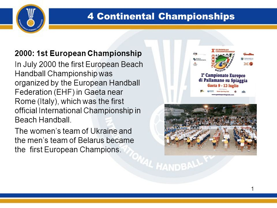 4 Continental Championships 2002: 2nd European Championships At the 2nd European Championships in 2002 in Cadiz (Spain) the field of the participating nations had already doubled from 8 each onto 16.
