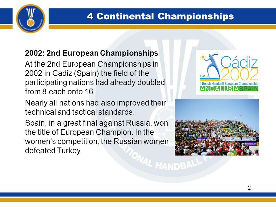 4 Continental Championships 2004: 3rd European Championships The third European Championships was carried out as scheduled.