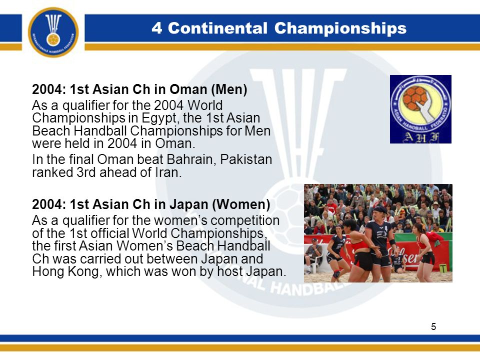 4 Continental Championships 2004: 1st Asian Ch in Oman (Men) As a qualifier for the 2004 World Championships in Egypt, the 1st Asian Beach Handball Ch