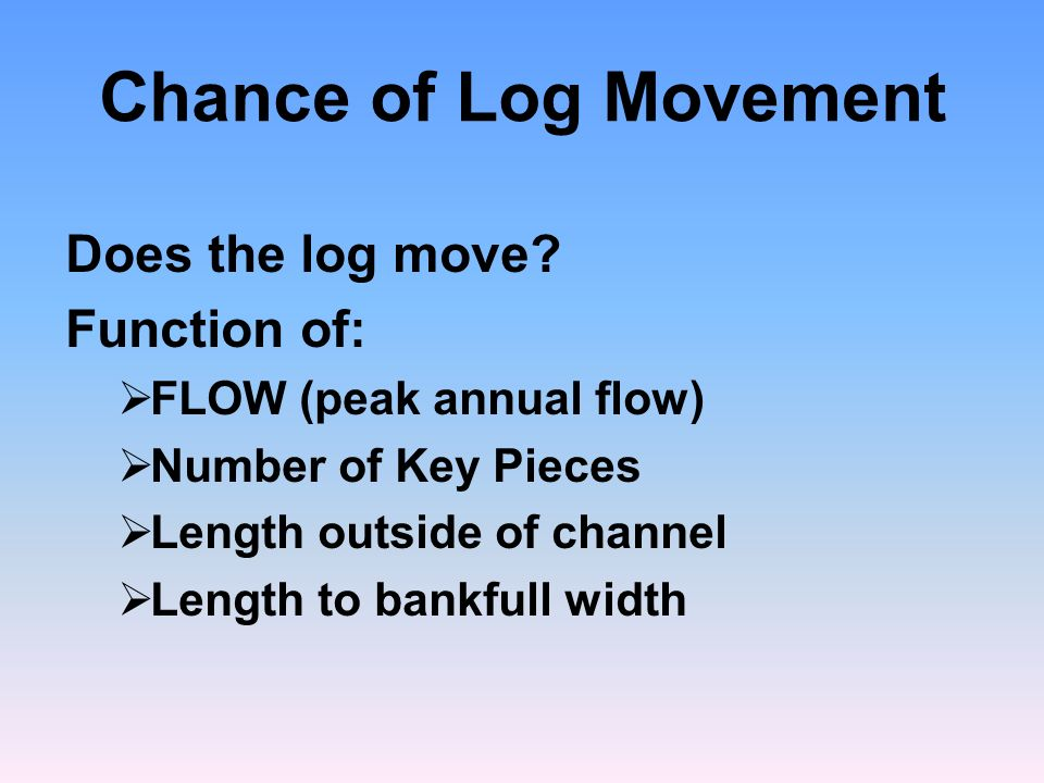Chance of Log Movement Does the log move.