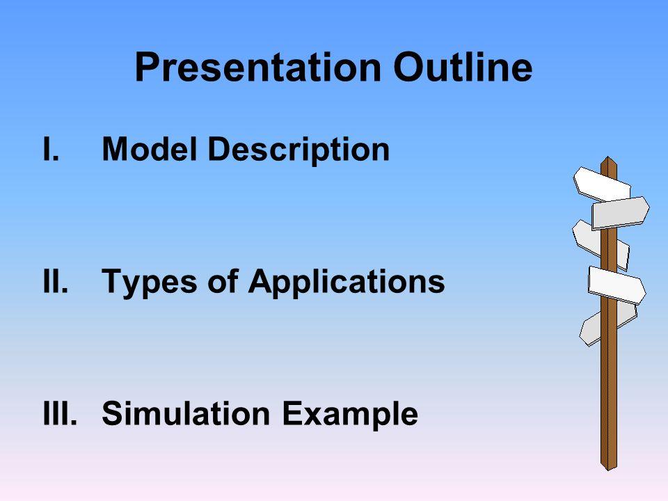Presentation Outline I.Model Description II.Types of Applications III.Simulation Example