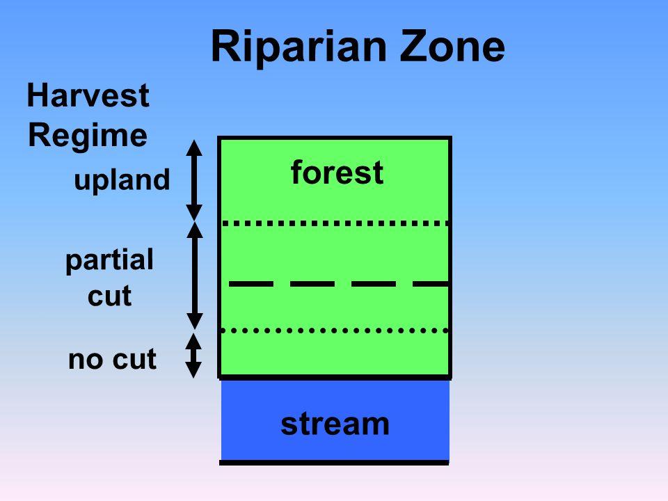 no cut partial cut Riparian Zone Harvest Regime stream forest upland