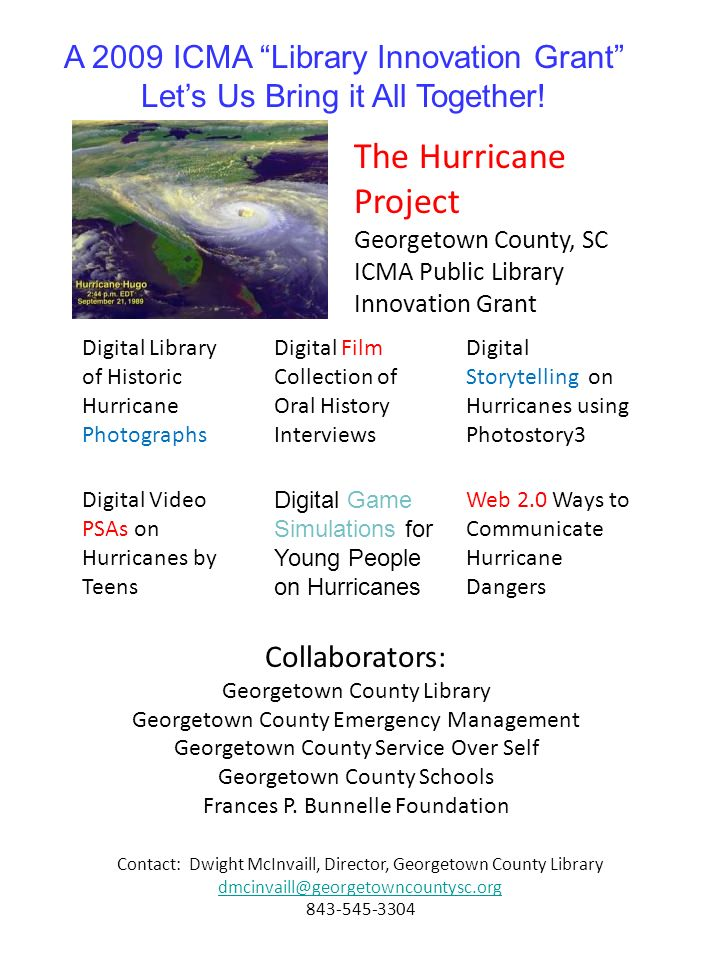 The Hurricane Project Georgetown County, SC ICMA Public Library Innovation Grant Digital Library of Historic Hurricane Photographs Digital Film Collec