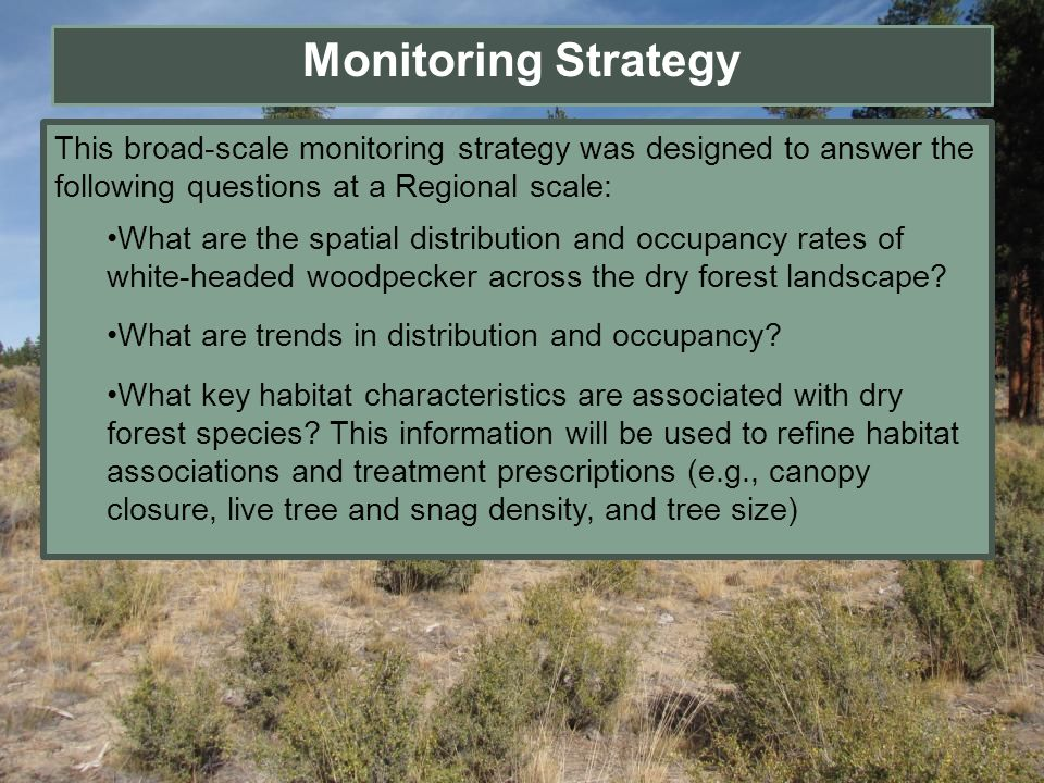 This broad-scale monitoring strategy was designed to answer the following questions at a Regional scale: What are the spatial distribution and occupan