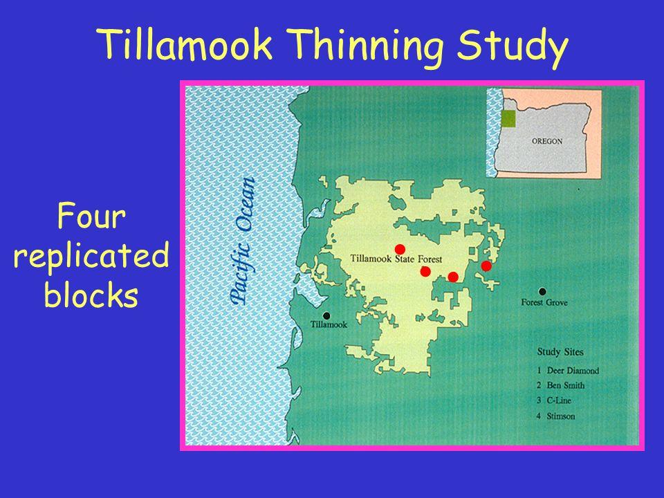 Tillamook Thinning Study Four replicated blocks....