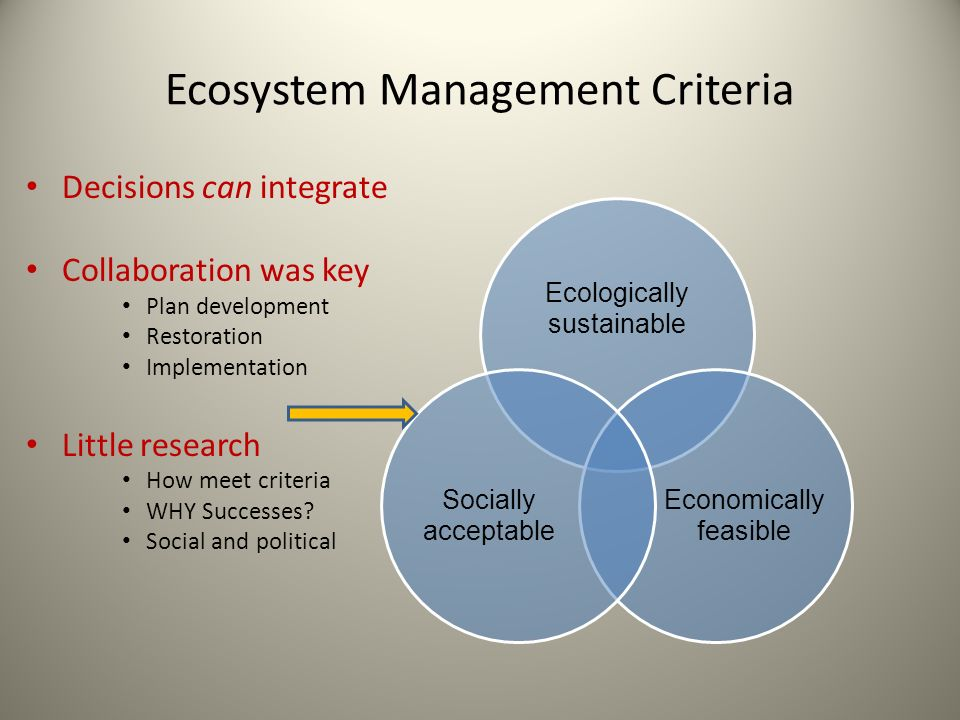 Ecosystem Management Criteria Decisions can integrate Collaboration was key Plan development Restoration Implementation Little research How meet criteria WHY Successes.