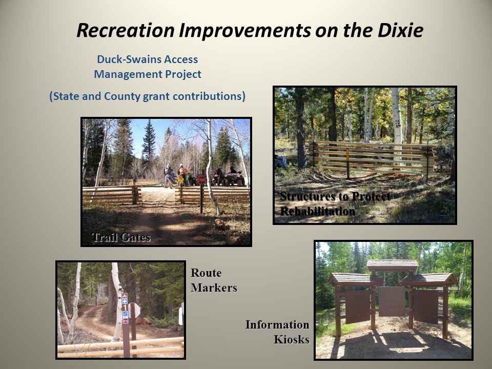 Recreation Improvements on the Dixie Route Markers Trail Gates Structures to Protect Rehabilitation InformationKiosks Duck-Swains Access Management Project (State and County grant contributions)