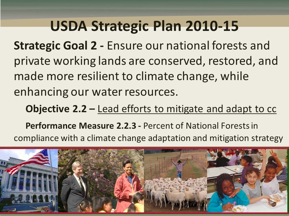 USDA Strategic Plan 2010-15 Strategic Goal 2 - Ensure our national forests and private working lands are conserved, restored, and made more resilient