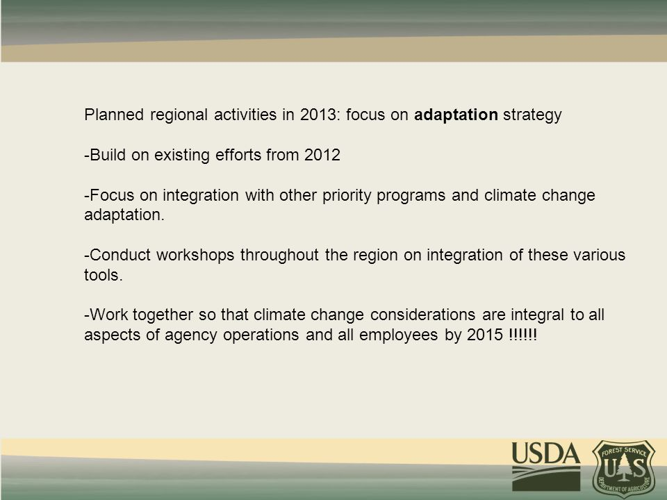 Planned regional activities in 2013: focus on adaptation strategy -Build on existing efforts from 2012 -Focus on integration with other priority programs and climate change adaptation.