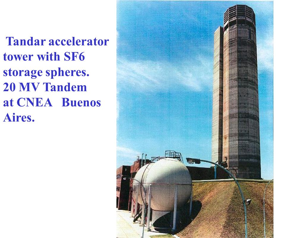 Tandar accelerator tower with SF6 storage spheres. 20 MV Tandem at CNEA Buenos Aires.