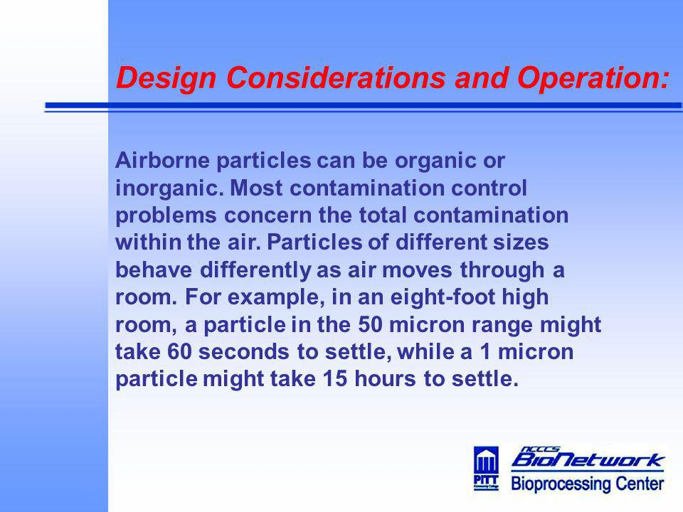 Design Considerations and Operation: Airborne particles can be organic or inorganic. Most contamination control problems concern the total contaminati