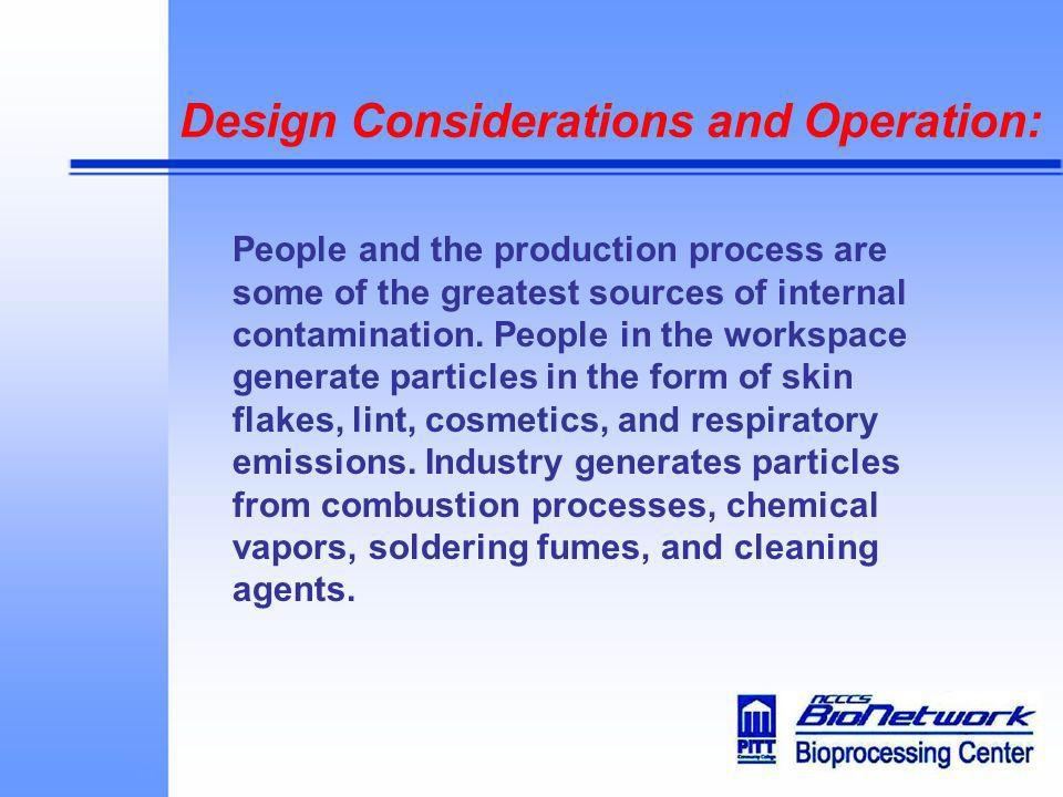 Design Considerations and Operation: People and the production process are some of the greatest sources of internal contamination. People in the works