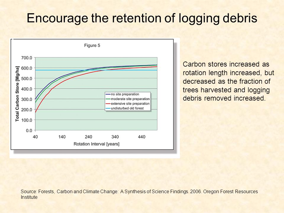 Encourage the retention of logging debris Carbon stores increased as rotation length increased, but decreased as the fraction of trees harvested and logging debris removed increased.