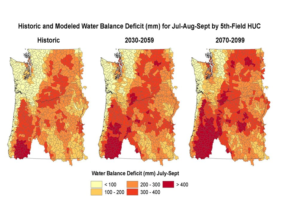 More winter precipitation as rain Earlier spring melt means lower summer flows 2 degrees C increase in next 20 years means 25 percent less snowpack …….a coming water crisis in the West (Barnett et al.