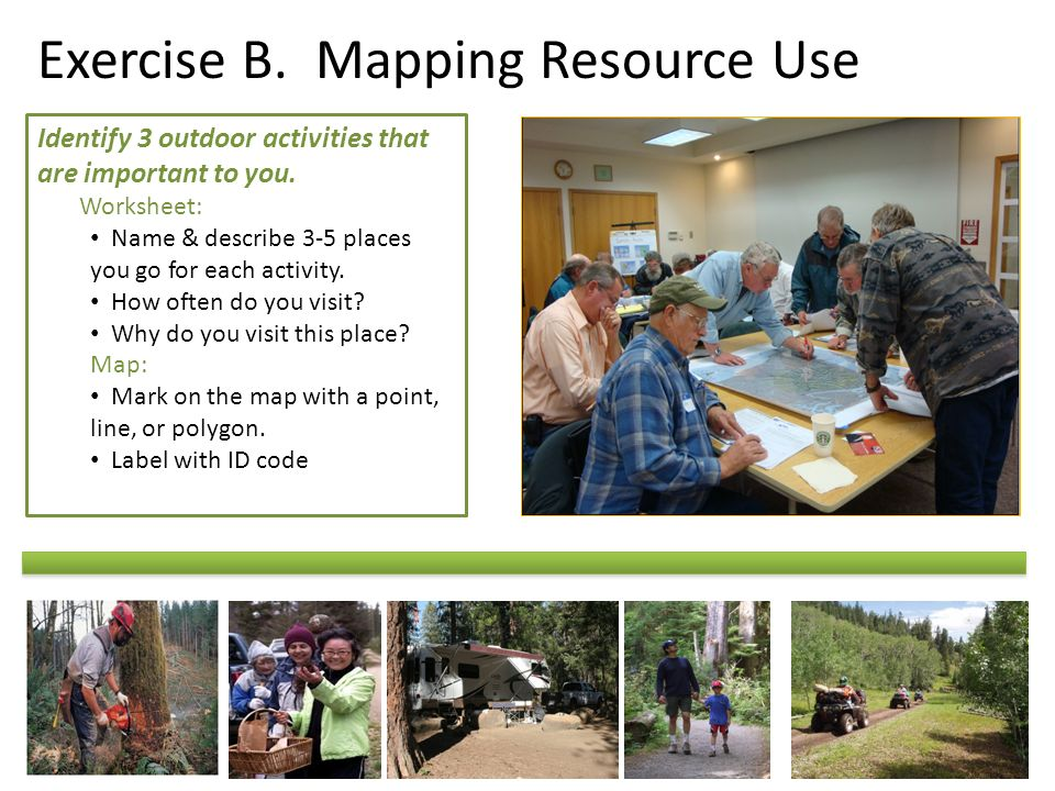Exercise B. Mapping Resource Use Identify 3 outdoor activities that are important to you.