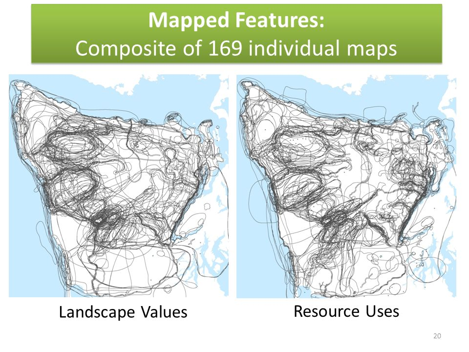 Mapped Features: Composite of 169 individual maps Landscape Values Resource Uses 20