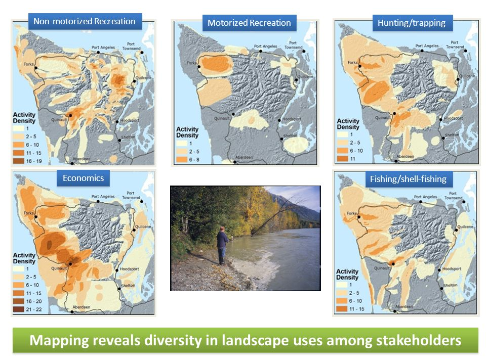 24 Mapping reveals diversity in landscape uses among stakeholders Non-motorized Recreation Fishing/shell-fishing Economics Motorized Recreation Hunting/trapping