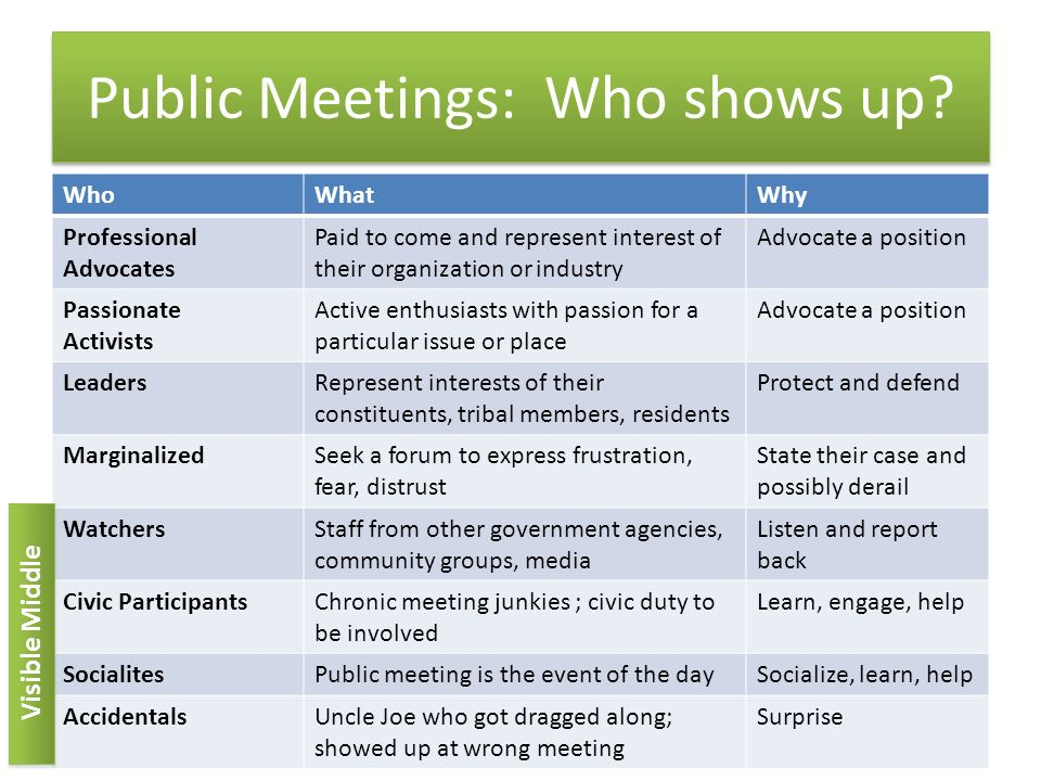 Public Meetings: Who shows up.