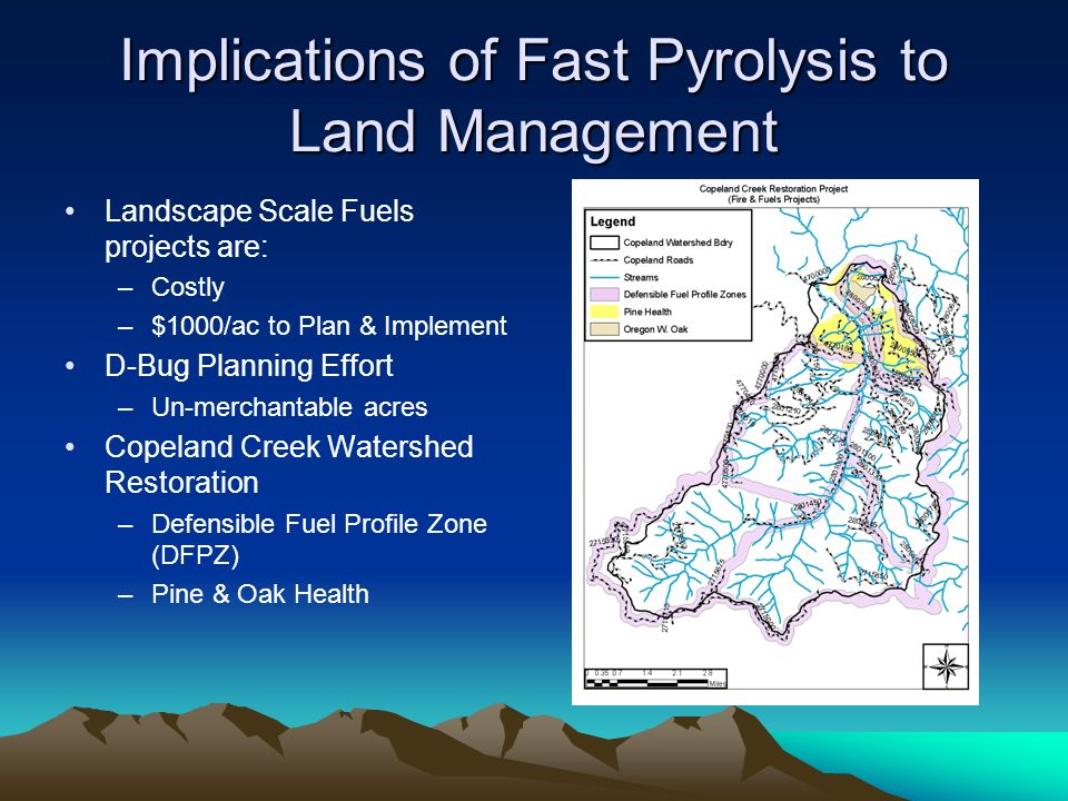 Implications of Fast Pyrolysis to Land Management Landscape Scale Fuels projects are: –Costly –$1000/ac to Plan & Implement D-Bug Planning Effort –Un-merchantable acres Copeland Creek Watershed Restoration –Defensible Fuel Profile Zone (DFPZ) –Pine & Oak Health