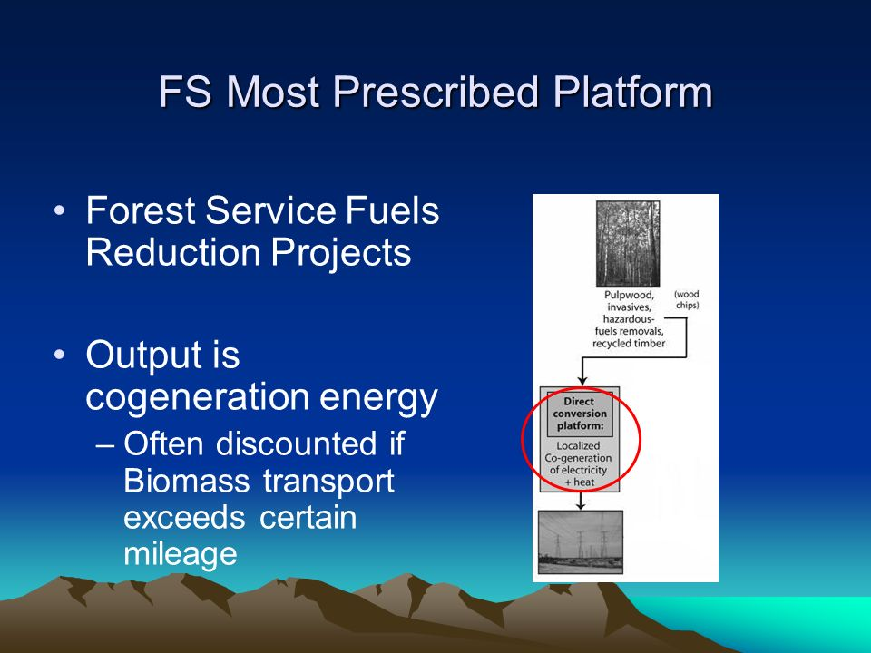 FS Most Prescribed Platform Forest Service Fuels Reduction Projects Output is cogeneration energy –Often discounted if Biomass transport exceeds certain mileage
