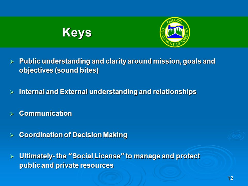 12 Keys Public understanding and clarity around mission, goals and objectives (sound bites) Public understanding and clarity around mission, goals and objectives (sound bites) Internal and External understanding and relationships Internal and External understanding and relationships Communication Communication Coordination of Decision Making Coordination of Decision Making Ultimately- the Social License to manage and protect public and private resources Ultimately- the Social License to manage and protect public and private resources