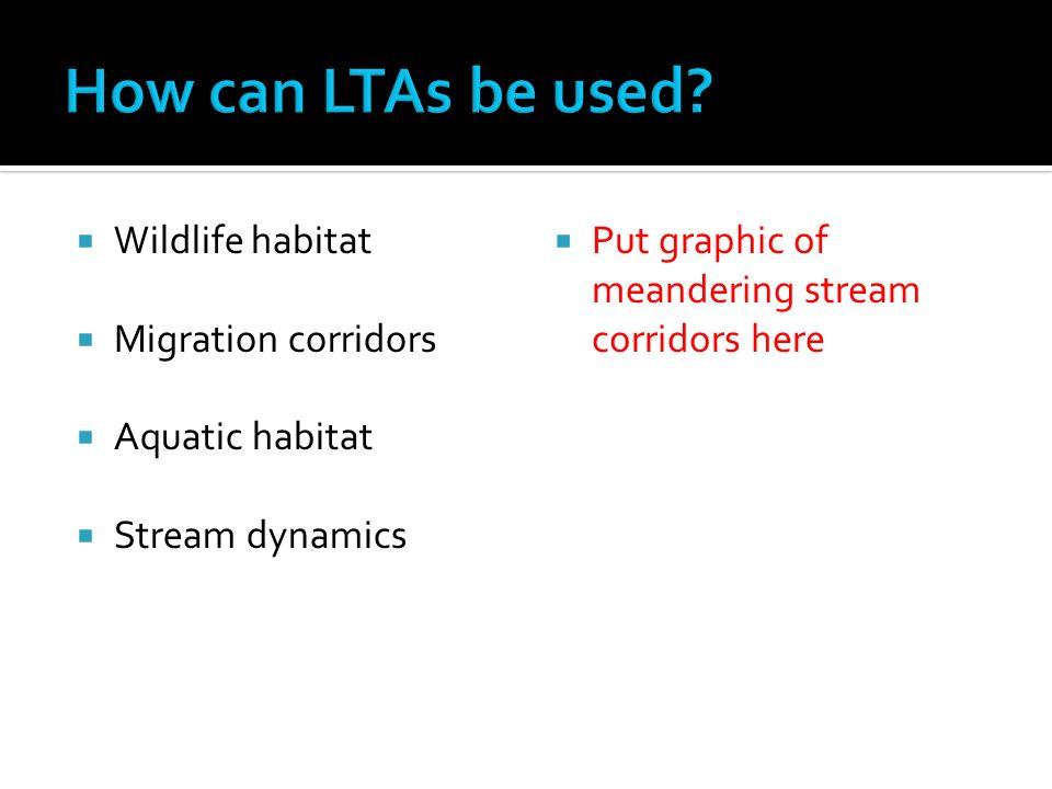 Wildlife habitat Migration corridors Aquatic habitat Stream dynamics Put graphic of meandering stream corridors here