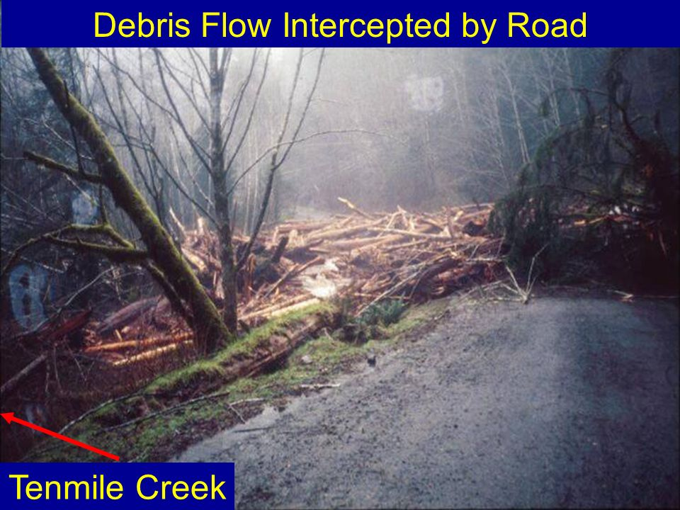 Debris Flow Intercepted by Road Tenmile Creek