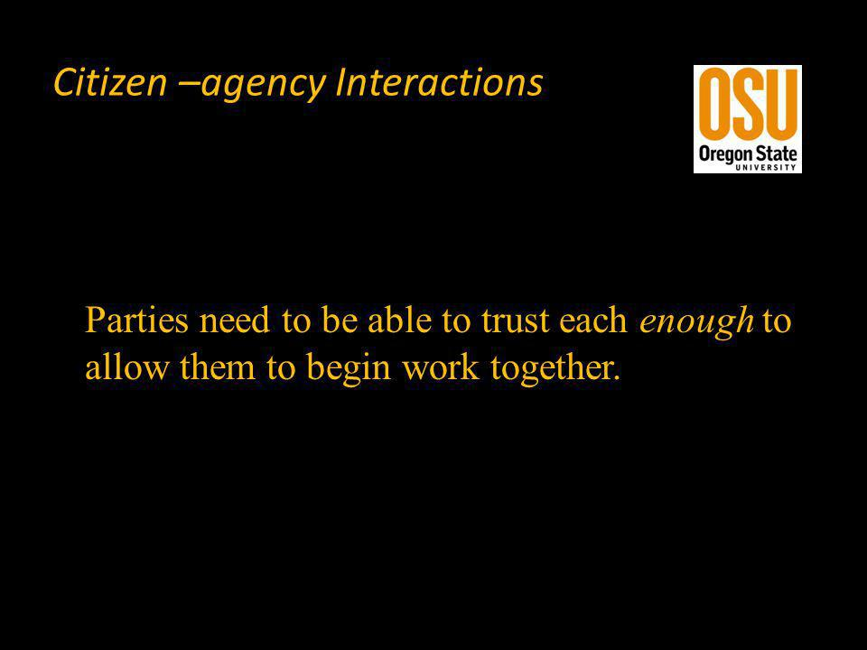 Citizen –agency Interactions Parties need to be able to trust each enough to allow them to begin work together.