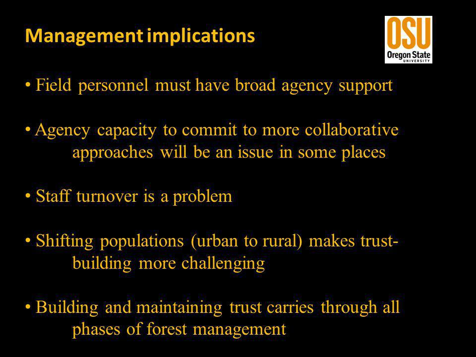 Management implications Field personnel must have broad agency support Agency capacity to commit to more collaborative approaches will be an issue in some places Staff turnover is a problem Shifting populations (urban to rural) makes trust- building more challenging Building and maintaining trust carries through all phases of forest management
