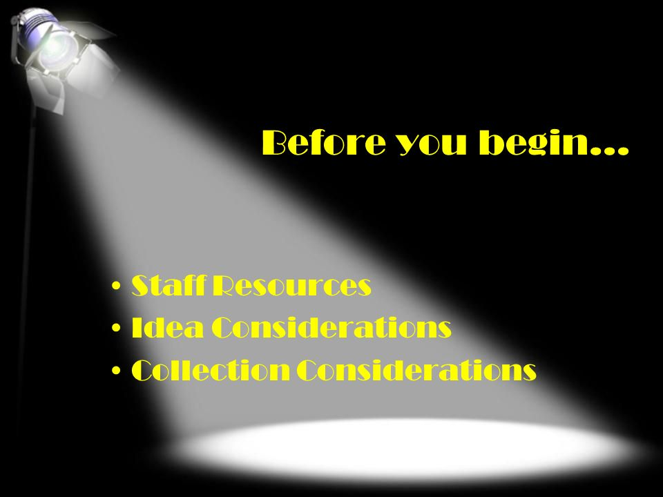 Before you begin… Staff Resources Idea Considerations Collection Considerations