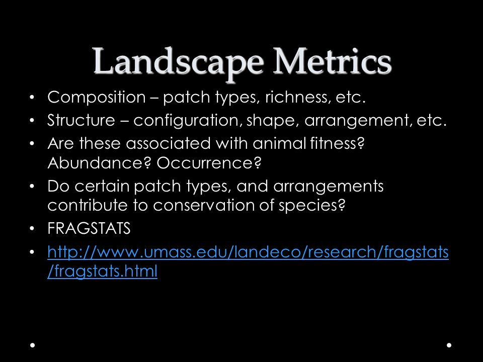 Landscape Metrics Composition – patch types, richness, etc. Structure – configuration, shape, arrangement, etc. Are these associated with animal fitne