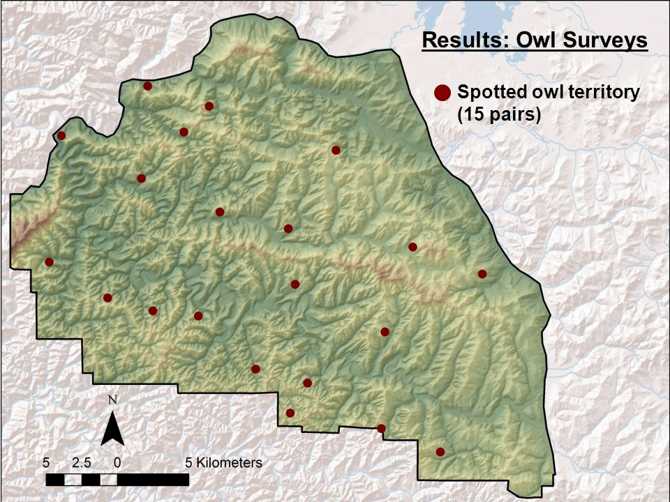 Spotted owl territory (15 pairs) Results: Owl Surveys