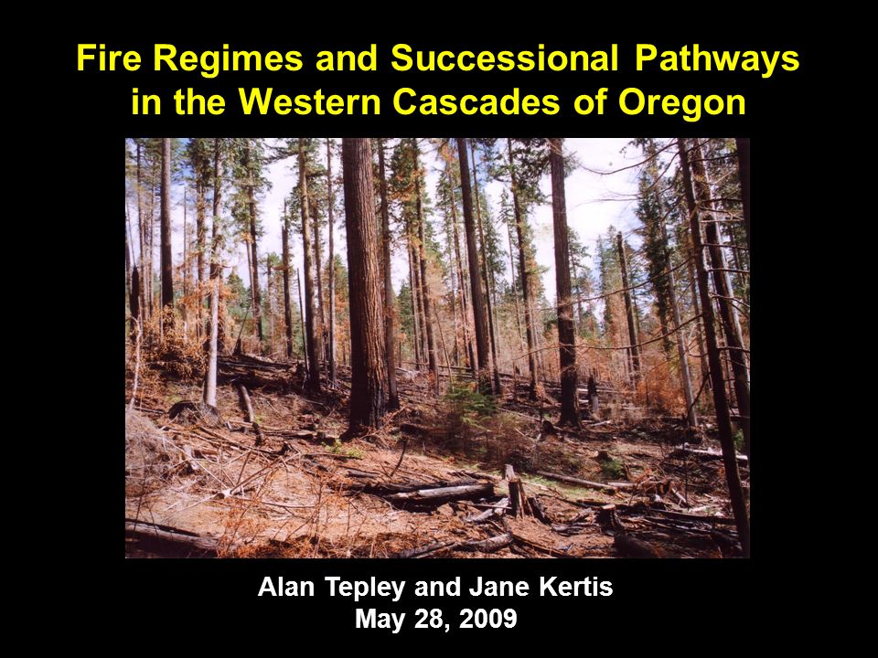 Alan Tepley and Jane Kertis May 28, 2009 Fire Regimes and Successional Pathways in the Western Cascades of Oregon